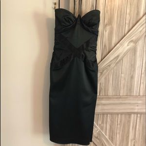 Nicole Miller collection black satin dress